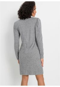 Szara sukienka bonprix ze stójką, melanż, prosta