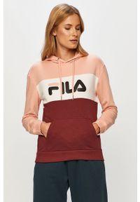 Różowa bluza Fila z nadrukiem, z kapturem, casualowa, na co dzień