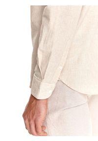 TOP SECRET - Koszula męska z lnem, z podwijanymi rękawami. Typ kołnierza: kołnierzyk stójkowy. Kolor: beżowy. Materiał: len. Długość: długie. Sezon: lato #4
