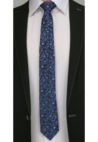 Męski Krawat w Kwiatki - 6 cm - Angelo di Monti, Granatowo-Niebieski. Kolor: niebieski. Wzór: kwiaty