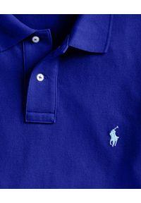 Ralph Lauren - RALPH LAUREN - Koszulka Polo Custom Slim Fit. Typ kołnierza: polo. Kolor: niebieski. Materiał: bawełna. Wzór: haft. Styl: klasyczny