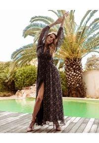 JENESEQUA - Jedwabna sukienka Johannesburg. Kolor: czarny. Materiał: jedwab. Długość rękawa: długi rękaw. Wzór: nadruk. Długość: maxi