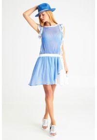 Sukienka Ermanno Scervino w paski, mini, z okrągłym kołnierzem, prosta