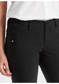 Spodnie z bengaliny ze stretchem BOOTCUT bonprix czarny. Kolor: czarny. Materiał: poliester, włókno, skóra, wiskoza, materiał
