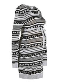 Czarna sukienka bonprix w paski, moda ciążowa