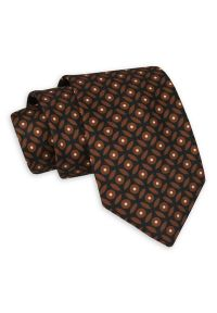 Brązowo-Czarny Męski Krawat -Chattier- 7,5cm, Klasyczny, Elegancki, Karmelowy, Wzór Geometryczny. Kolor: beżowy, brązowy, wielokolorowy. Materiał: tkanina. Wzór: geometria. Styl: klasyczny, elegancki