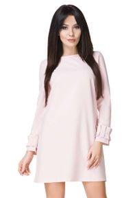 Tessita - Jasnobeżowa Sukienka z Falbanką przy Rękawie. Kolor: beżowy. Materiał: elastan, poliester