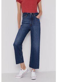 Levi's® - Levi's - Jeansy Ribcage Straight Ankle. Okazja: na spotkanie biznesowe. Stan: podwyższony. Kolor: niebieski. Styl: biznesowy
