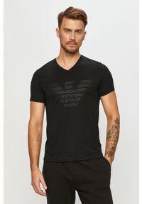 Czarny t-shirt Emporio Armani na co dzień, casualowy