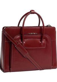 Torba MCKLEIN Skórzana teczka damska Mcklein Lake Forest 94336 na laptopa 15,4 czerwona. Kolor: czerwony. Materiał: skóra