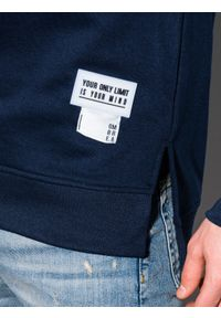 Ombre Clothing - Bluza męska z kapturem B1084 - granatowa - XXL. Typ kołnierza: kaptur. Kolor: niebieski. Materiał: poliester, bawełna