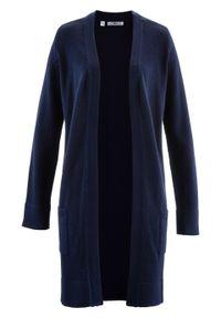 Długi sweter dzianinowy bez zapięcia, długi rękaw bonprix ciemnoniebieski. Kolor: niebieski. Materiał: dzianina. Długość rękawa: długi rękaw. Długość: długie