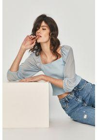 Niebieska bluzka Answear Lab wakacyjna, z długim rękawem, na co dzień, długa
