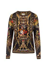 Camilla - Bluza CAMILLA ROUND NECK SWEATER. Materiał: bawełna, skóra. Wzór: kwiaty, aplikacja, nadruk