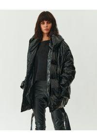 MMC STUDIO - Czarna kurtka holograficzna Jesso. Typ kołnierza: kaptur. Kolor: czarny. Materiał: jeans, puch, guma. Sezon: zima