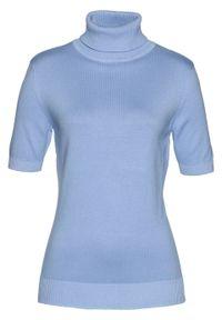 Sweter z golfem, krótki rękaw bonprix perłowy niebieski. Typ kołnierza: golf. Kolor: niebieski. Długość rękawa: krótki rękaw. Długość: krótkie. Styl: klasyczny