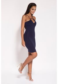 Dursi - Granatowa Sukienka na Cienkich Ramiączkach z Biżuteryjnym Akcentem. Kolor: niebieski. Materiał: nylon, elastan. Długość rękawa: na ramiączkach