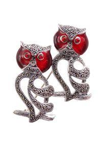 Braccatta - POLLI Srebrna broszka markazyty duża sowa. Materiał: srebrne. Kolor: srebrny. Wzór: aplikacja. Kamień szlachetny: markazyt