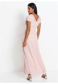 Długa sukienka letnia z koronką bonprix bladoróżowy. Kolor: różowy. Materiał: koronka. Wzór: koronka. Sezon: lato. Długość: maxi