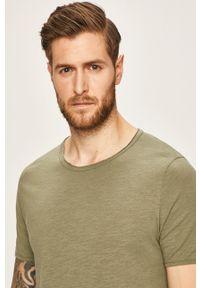 Zielony t-shirt Selected casualowy, na co dzień