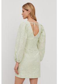 Samsoe & Samsoe - Samsoe Samsoe - Sukienka. Kolor: zielony. Materiał: tkanina. Wzór: gładki. Typ sukienki: rozkloszowane #2