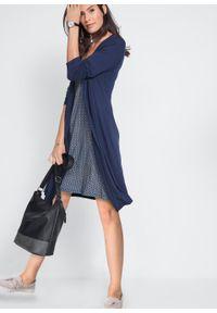 Sukienka w optyce 2 w 1, długi rękaw bonprix Sukienka 2w1 c.nieb dł. r. Kolor: niebieski. Materiał: wiskoza, skóra. Długość rękawa: długi rękaw