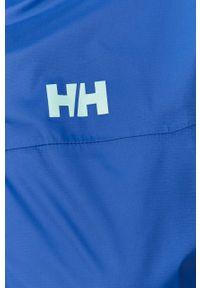 Niebieska kurtka Helly Hansen casualowa, z kapturem, na co dzień, z nadrukiem