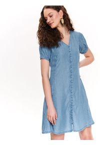 Niebieska sukienka TOP SECRET koszulowa, z krótkim rękawem