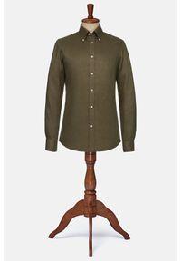 Lancerto - Koszula Zielona Lniana Maryland. Typ kołnierza: button down. Kolor: zielony. Materiał: len. Wzór: ze splotem. Sezon: lato. Styl: vintage, militarny