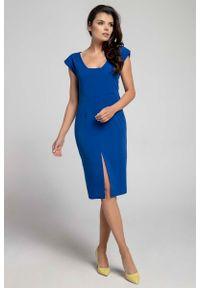 Niebieska sukienka Nommo z dekoltem na plecach, wizytowa