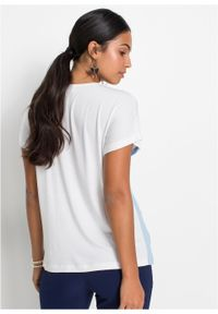 """Shirt """"color-blocking"""" bonprix biało-beżowo-jasnoniebieski. Kolor: biały. Długość rękawa: krótki rękaw. Długość: krótkie #6"""