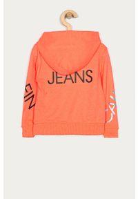 Pomarańczowa bluza Calvin Klein Jeans z kapturem, z nadrukiem