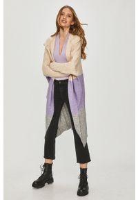 Fioletowy sweter rozpinany Answear Lab wakacyjny, długi, z kapturem