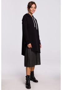 e-margeritka - Bluza długa z kapturem oversize czarna - l/xl. Typ kołnierza: kaptur. Kolor: czarny. Materiał: bawełna, dzianina, materiał, elastan. Długość: długie