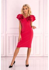 Różowa sukienka wizytowa Merribel z falbankami, wizytowa