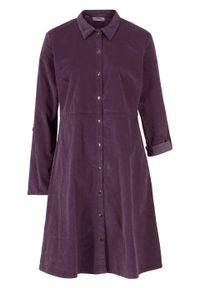 Sukienka sztruksowa ze stretchem bonprix czarny bez. Kolor: fioletowy. Materiał: elastan, sztruks, bawełna, materiał