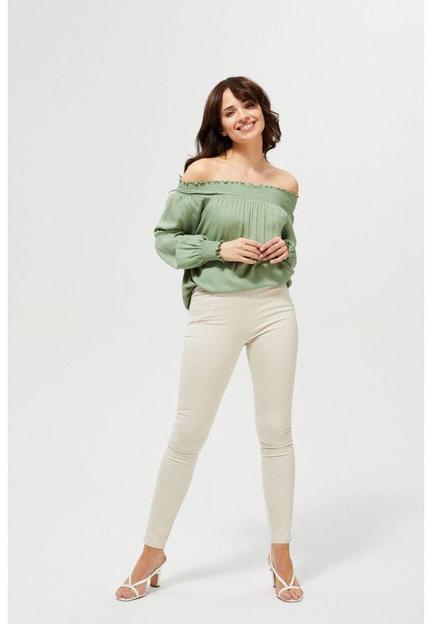MOODO - Spodnie jegginsy. Materiał: bawełna, elastan, guma. Długość: długie. Wzór: gładki