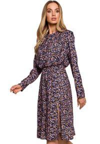MOE - Sukienka w stylu BOHO w kwiaty. Okazja: na co dzień. Materiał: tkanina, guma. Wzór: kwiaty. Typ sukienki: proste. Styl: boho. Długość: midi