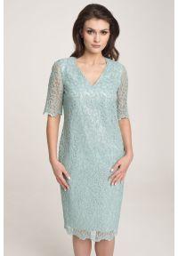 Miętowa sukienka Vito Vergelis na wiosnę, na ślub cywilny