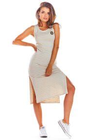 Infinite You - Beżowa Bawełniana Dopasowana Sukienka z Rozporkami w Paski. Kolor: beżowy. Materiał: bawełna. Wzór: paski
