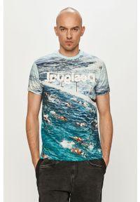 Niebieski t-shirt Desigual na co dzień, casualowy
