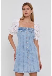 Miss Sixty - Sukienka jeansowa. Typ kołnierza: dekolt hiszpanka. Kolor: niebieski. Materiał: jeans. Typ sukienki: dopasowane