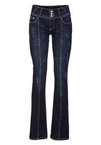 Dżinsy BOOTCUT z ozdobnymi szwami bonprix ciemny denim. Kolor: niebieski. Materiał: bawełna, poliester, materiał, elastan. Styl: elegancki