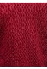 Ombre Clothing - Bluza męska rozpinana bez kaptura C453 - czerwona - XL. Typ kołnierza: bez kaptura. Kolor: czerwony. Materiał: żakard, poliester, bawełna
