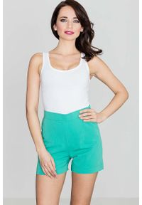 Zielone spodnie Katrus krótkie, z podwyższonym stanem