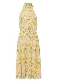 Sukienka z przeszyciem cienkimi gumkami bonprix żółty w kwiaty. Kolor: żółty. Wzór: kwiaty