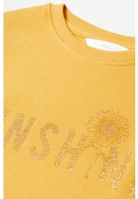 Żółta bluza Mango Kids na co dzień, z aplikacjami, casualowa