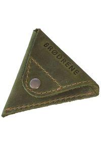 Oliwkowy portfel BRODRENE w kolorowe wzory