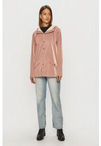 Różowa kurtka Rains z kapturem, gładkie, na co dzień, casualowa