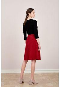 Marie Zélie - Spódnica Driada wełna czerwona. Kolor: czerwony. Materiał: wełna. Wzór: motyw zwierzęcy